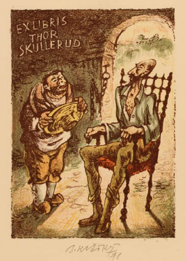 Exlibris by Bohumil Kratky from Czechoslovakia for Thor Skullerud - Don Quijote