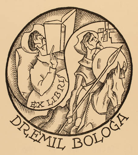 Exlibris by E Tacke from Germany for Dr. Emil I. Bologa - Don Quijote