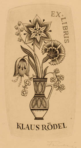 Exlibris by Petr Füel from Hungary for Klaus Rödel - Flower Flora