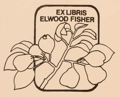 Exlibris by Vytautas O. Virkau from USA for Elwood Fisher - Flora Fruit