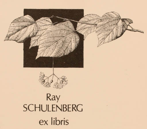 Exlibris by Vytautas O. Virkau from USA for Ray Schulenberg - Flora
