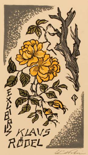 Exlibris by Edmund Peter from Denmark for Klaus Rödel - Flower Flora