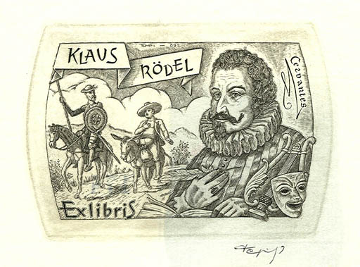 Exlibris by Istvan Tempinszky from Hungary for Klaus Rödel - Don Quijote Literature