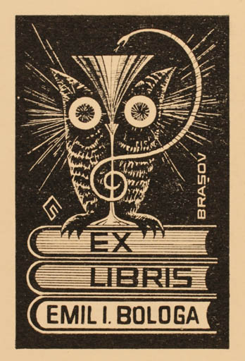 Exlibris by Levente Csutak from Romania for Dr. Emil I. Bologa - Book Fauna Owl