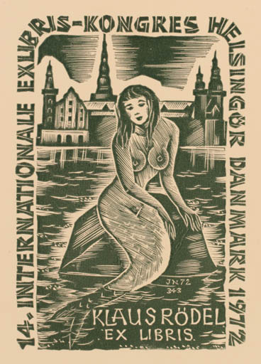 Exlibris by Johann Naha from Germany for Klaus Rödel - Castle/Palace Mermaid