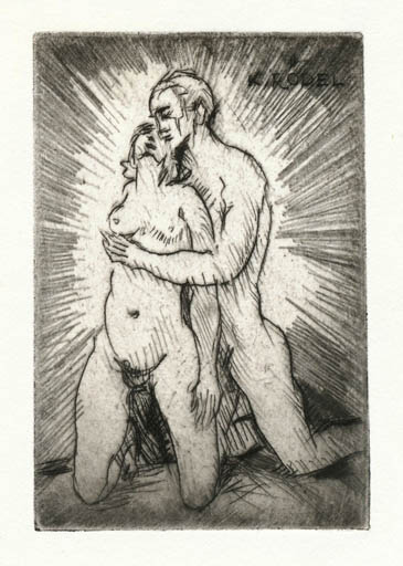 Exlibris by Rudolf Koch from Germany for Klaus Rödel - Erotica Literature Couple