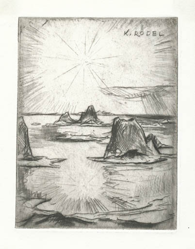 Exlibris by Rudolf Koch from Germany for Klaus Rödel - Scenery/Landscape Literature