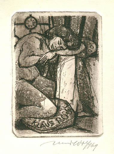 Exlibris by Remo Wolf from Italy for Klaus Rödel - Woman