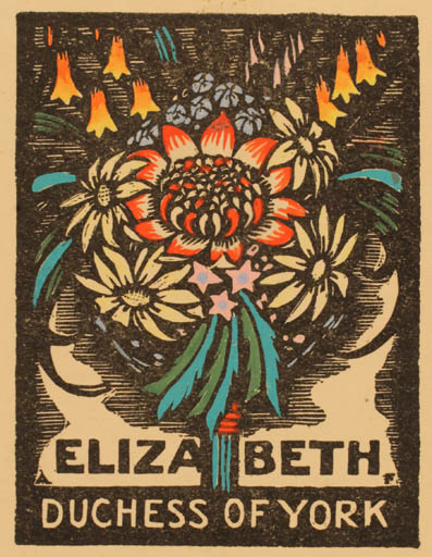 Exlibris by Adrian Feint from Great Britain for Alexandra Mary Elizabeth - Flower Flora Regent/royalty