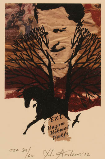 Exlibris by Nurgül Arikan from Turkey for Nazim Hikmet Vakfi - Horse Portrait Tree