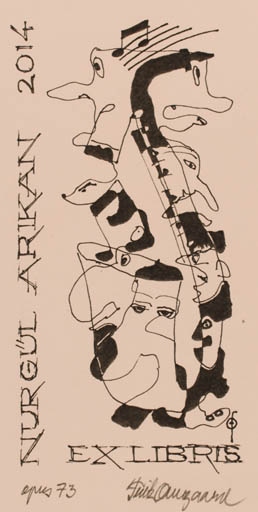 Exlibris by Fritz Overgaard from Denmark for Nurgül Arikan - Music