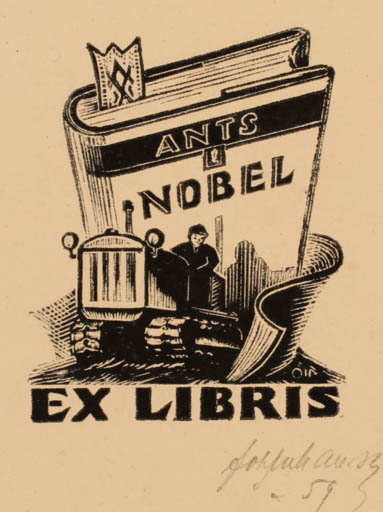 Exlibris by Johannes Juhansoo from Estonia for Ants Nobel - Book Man