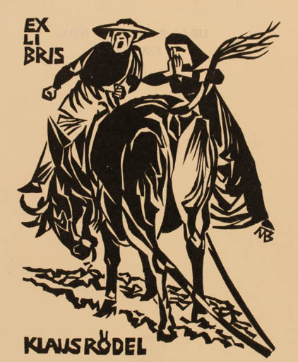 Exlibris by Ullrich Bewersdorff from Germany for Klaus Rödel - Fauna Literature Couple