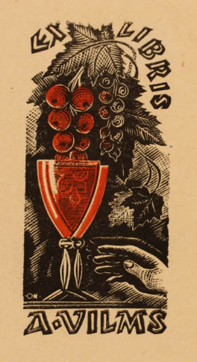 Exlibris by Johannes Juhansoo from Estonia for Arvid Vilms - Hand(s) Wine