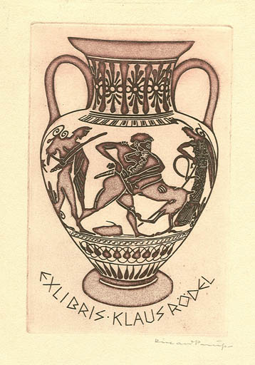 Exlibris by Richard Preusse from Germany for Klaus Rödel - Classical antiquity