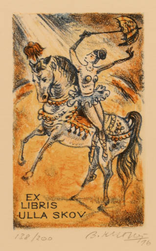 Exlibris by Bohumil Kratky from Czechoslovakia for Ulla Skov - Horse Woman Theater/Cirkus
