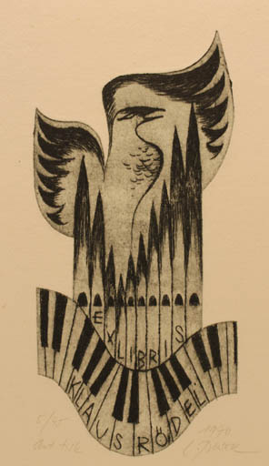 Exlibris by Ladislav Rusek from Czech Republic for Klaus Rödel - Bird Music