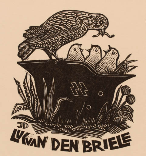 Exlibris by Jerzy Druzrycki from Poland for Luc van den Briele - Bird Military/War