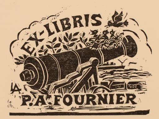 Exlibris by A. Linglet from Canada for P. A. Fournier - Bird Weapon