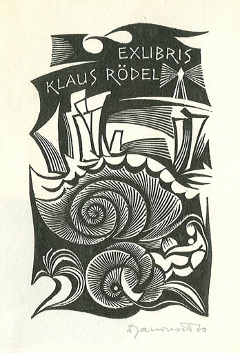 Exlibris by Dusan Janousek from Czechoslovakia for Klaus Rödel -