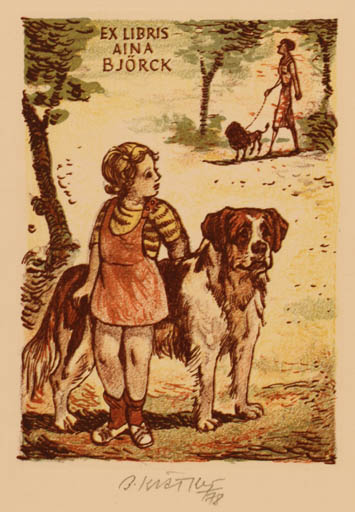 Exlibris by Bohumil Kratky from Czechoslovakia for Aina Björck - Child Dog
