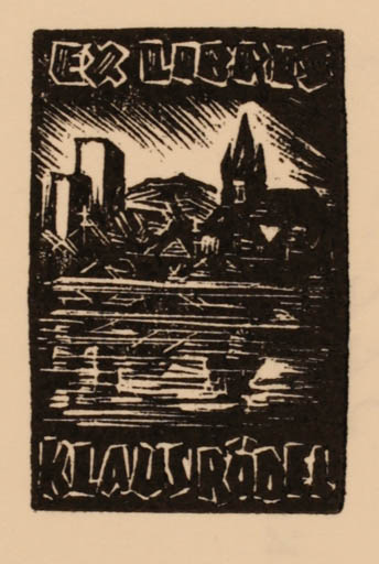 Exlibris by Kàroly Andrusko from Yugoslavia for Klaus Rödel - City
