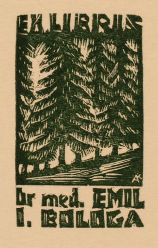 Exlibris by Kàroly Andrusko from Yugoslavia for Dr. Emil I. Bologa - Forest