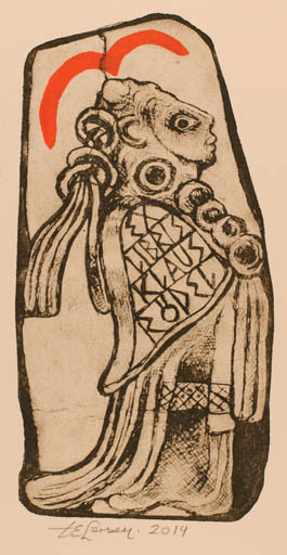 Exlibris by Torill  Elisabeth Larsen from Norway for Klaus Rödel - Bird Woman Leda and the Swan
