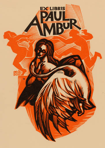 Exlibris by Anatolij Kalaschnikow from Russia for Paul Ambur - Leda and the Swan Mythology