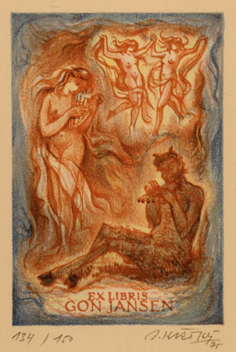 Exlibris by Bohumil Kratky from Czechoslovakia for Gon Jansen - Dancing Mythology Pan/Faun
