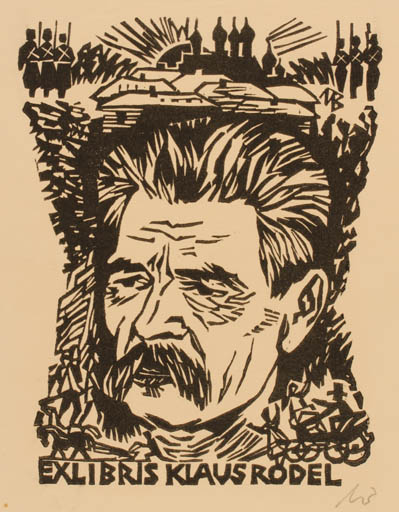 Exlibris by Ullrich Bewersdorff from Germany for Klaus Rödel - Portrait
