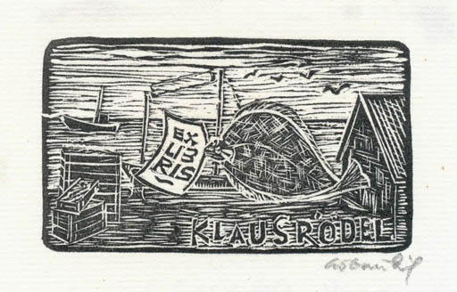 Exlibris by Chr. W. Bauditz from Denmark for Klaus Rödel - Fish Maritime Ship/Boat
