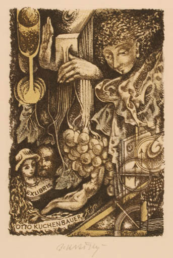 Exlibris by Bohumil Kratky from Czechoslovakia for Otto Kuchenbauer - Surrealism