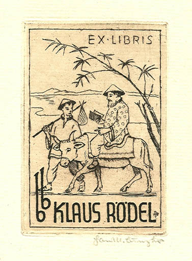 Exlibris by Hans Michael Bungter from Germany for Klaus Rödel - Literature Oriental
