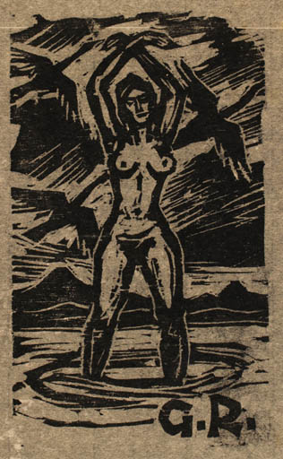 Exlibris by Rudolf Koch from Germany for G R - Bird Woman Nude