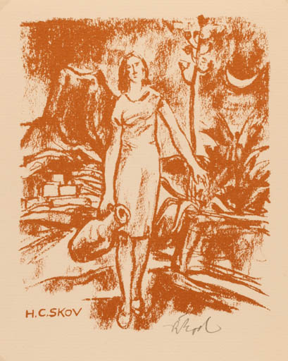 Exlibris by Rudolf Koch from Germany for Henry Carlo Skov - Woman Scenery/Landscape