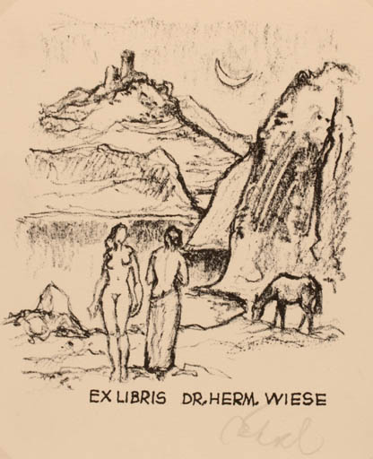 Exlibris by Rudolf Koch from Germany for Dr. Hermann Wiese - Horse Scenery/Landscape Nude