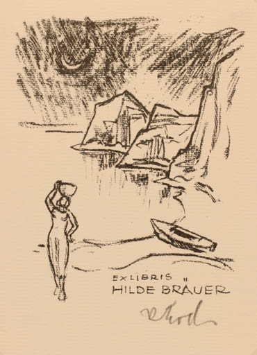 Exlibris by Rudolf Koch from Germany for Hilde Bräuer - Woman Scenery/Landscape