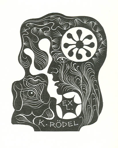 Exlibris by Dusan Janousek from Czechoslovakia for Klaus Rödel - Abstract