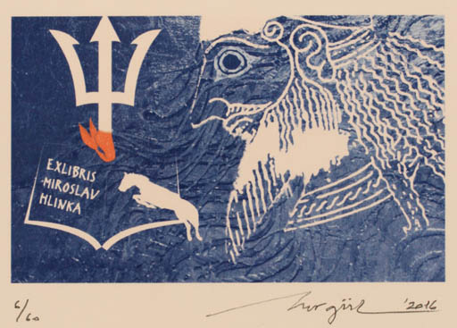 Exlibris by Nurgül Arikan from Turkey for Miroslav Hlinka - Classical antiquity Horse Mythology