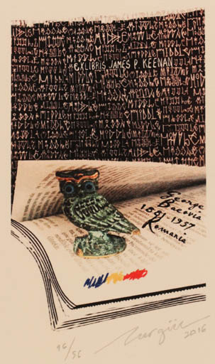 Exlibris by Nurgül Arikan from Turkey for James P. Keenan - Book Text/Writing Owl