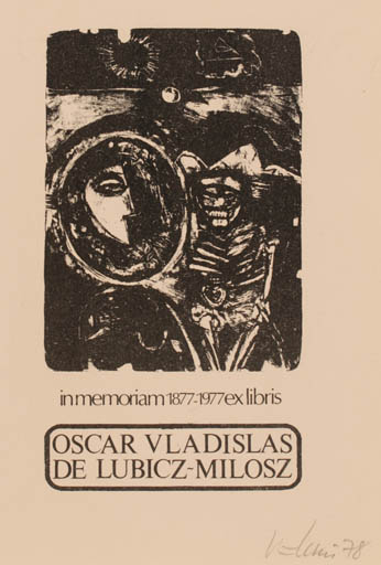 Exlibris by Vytautas O. Virkau from USA for Oscar Vladislas De Lubicz-Milosz -