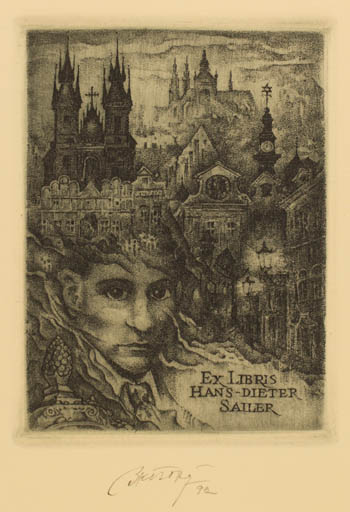 Exlibris by Bohumil Kratky from Czech Republic for Hans-Dieter Sailer - City Portrait