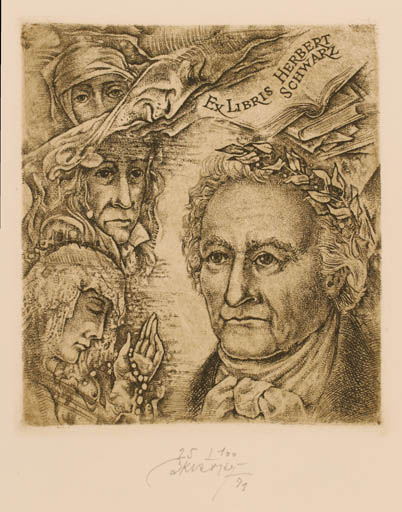 Exlibris by Bohumil Kratky from Czech Republic for Herbert Schwarz - Man Portrait