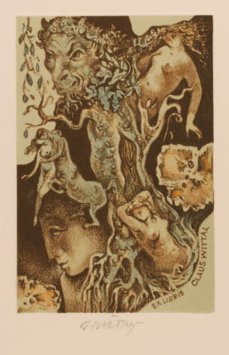 Exlibris by Bohumil Kratky from Czech Republic for Claus Wittal - Woman Mythology