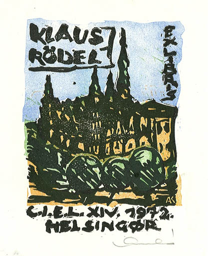 Exlibris by Karoly Andrusko from Yugoslavia for Klaus Rödel - Castle/Palace Exlibris Congress