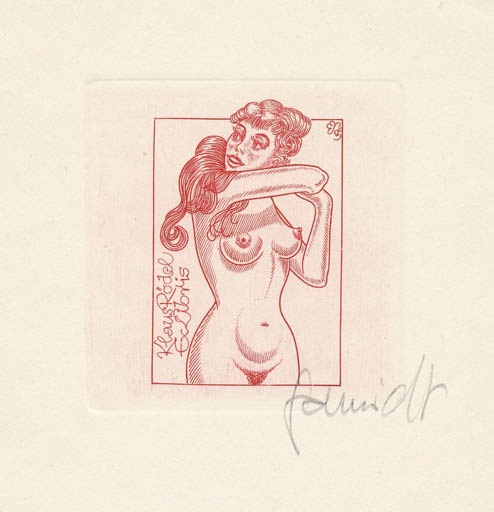 Exlibris by Eugen Schmidt from Germany for Klaus Rödel - Woman Nude