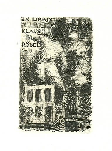 Exlibris by Virgilio Tramontin from Italy for Klaus Rödel - Woman Nude