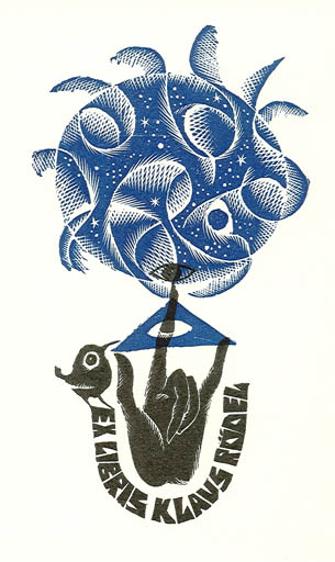 Exlibris by Anna Grmelova from Czechoslovakia for Klaus Rödel - Abstract Hand(s)