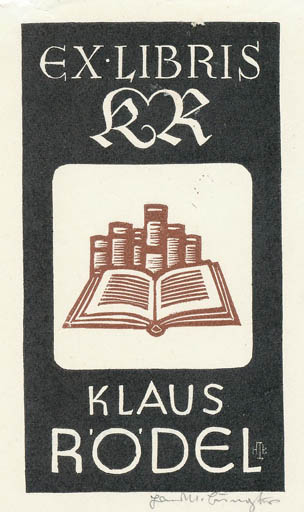 Exlibris by Hans Michael Bungter from Germany for Klaus Rödel - Book Literature